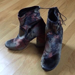 New Fall Floral Rose Velvet Heeled Sock Booties